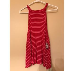 NWT SO Red Striped Halter Neck Tank